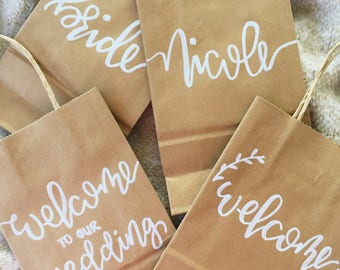 Small Custom Kraft Bags, Wedding Welcome Bags, Wedding Favors, Personalized Gift Bags, Birdesmaid Gifts, Kraft Bags, Hand Lettered, Gift Bag
