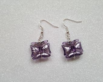 Purple Rectangle Sterling Silver Earrings