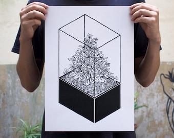 Plants Digital Printed Artwork Terrarium Geometric Illustration