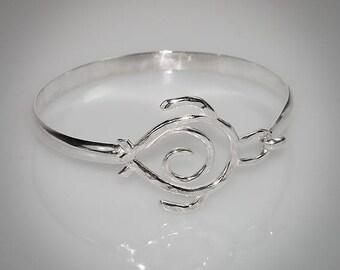 Hawaiian Honu Hook Style Bangle Bracelet Handmade with Argentium Silver
