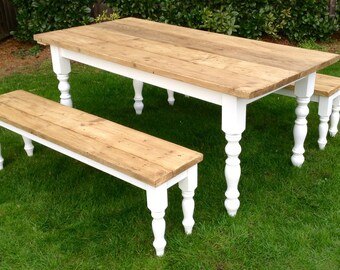 6ft Rustic Farmhouse Pine Table .... Benches also available