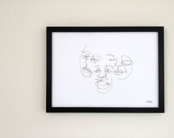 Original - Blind Contour Print - Portrait Composition - Series 1/6 JOY