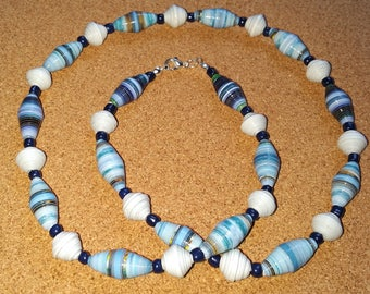 Handmade blue - white recycled paper bead necklace