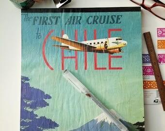 Big Sketchbook, South America, Travel Journal, Travel Art Book, Vintage Illustration, Blank Book