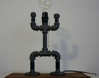 Industrial Pipe Steampunk Pallet Wood Lamp