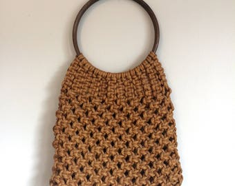 RESERVED Loop Handle Brown Macrame Bag