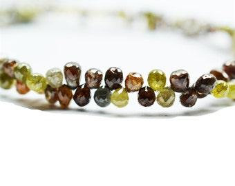 AAA Quality multi colour natural DIAMOND tear Drops shape 8 inch strand