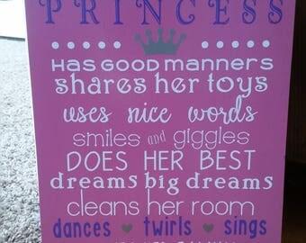 11x14 Wooden Princess Sign - A True Princess