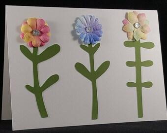 Set of Four Handmade Spring Flower Note Cards