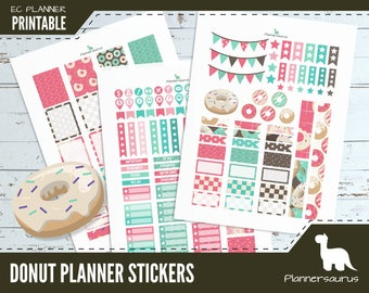 Donut printable planner sticker | Donut EC vertical planner printable | digital weekly planner | donut planner printable pink donut sticker