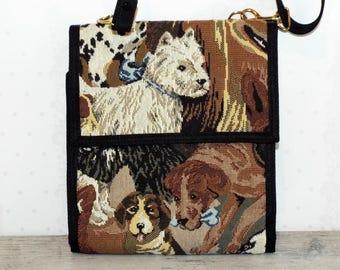 VINTAGE Danny K Dog Tapestry Wallet Organizer Bag. Travel Bag. Convertible Handbag.