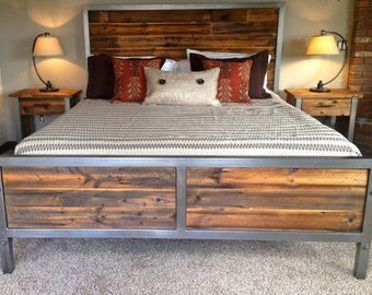 Reclaimed Industrial Chic Handmade King Size Bed