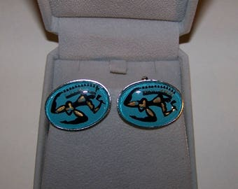 Vintage  Turquoise Native American Ceremonial Dance  Glass  Cuff Links  18mm x 25mm