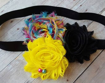 Rainbow headband, Shabby chic headband, Newborn headband, Girls headband, Multi- Colored headband, Infant headband