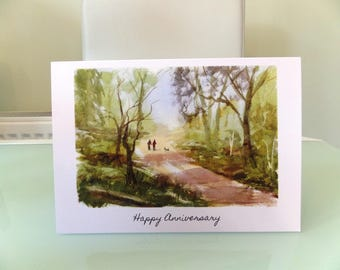 Anniversary card:  A walk together in the woods.