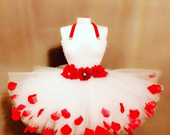 First Birthday outfit girl, flower girl dress, white and red dress
