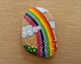 Paperweight Rainbow handmade stone oil