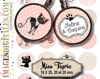 MISS TIGRIE ID Digital Collage Sheet Printable Instant Download for art jewelry scrapbooking bottle caps magnets pins