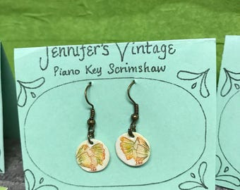 Reclaimed piano key earrings