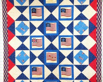 """Long May She Wave Quilt Top 66"""" x 83"""""""
