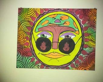 Trippy sun painting