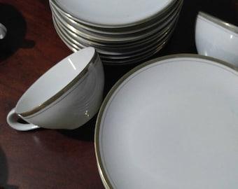 Vintage 1950's Royalton China Translucent Porcelain 14K Gold Trim Fine China Set