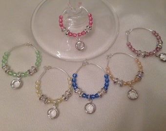 Multi Pastel Color Crystal Wine Charms Handmade with Swarovski® Crystals Set of 6