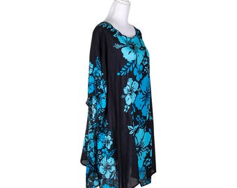 Hibiscus Print Beach Tunic Poncho Cover-Up
