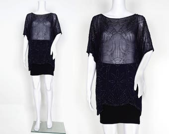 Navy Chiffon 1920s Beaded Tunic Top