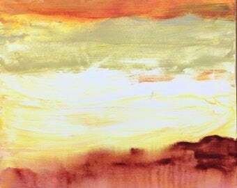 Glowing Landscape II, Warm yellow, white and reddish Abstract on Canvas, 24X24