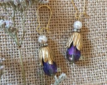 Violet Tulip Earrings