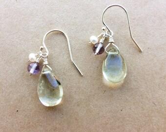 Green Amethyst Earrings, Prasiolite Earrings, Purple Amethyst Earrings, Gemstone Earrings