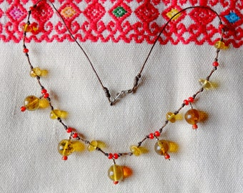 The Mexico - Corazones amber necklace