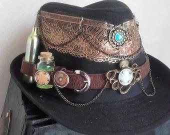 "Steampunk style Black Hat ""lace"""