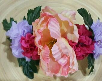 Lavender Peach & Fuschia Floral Crown Headband
