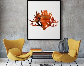 Fire Bush Print Art Poster Nature Illustration Home Decor