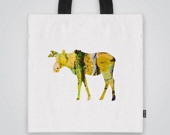 Moose Tote  Bag Shoulder Market Bag Art Print