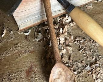 Hand carved stirring spoon in oak