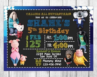 Sing Movie Invitation, Sing Movie Birthday Invitation, Sing Movie Birthday Party, Sing Movie Thank You Card, Personalized, Digital File