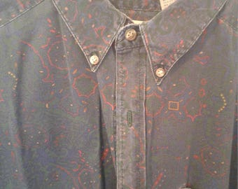 Dark Paisley Faded Steeplechase Men's Shirt size 15.5