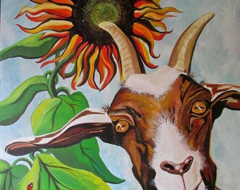 Old Billy goat, blank greeting card