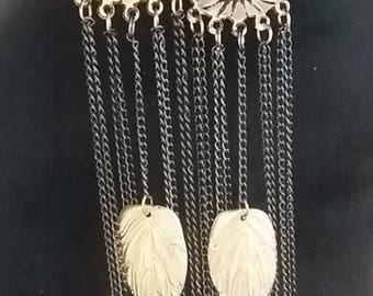 Long Chain Leaf Earrings