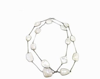 925 White Crystal Quartz Rainbow Chain