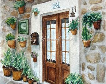 Original watercolor, watercolor painting, landscape, Spain, Mallorca, city landscape, old town, summer landscape, wall art, gift