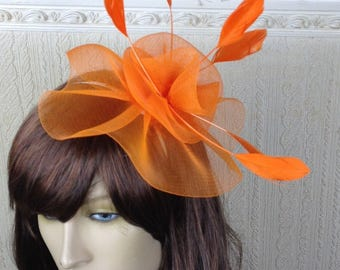 orange feather fascinator millinery burlesque headband wedding hat hair piece