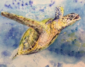 Sea turtle - original watercolor painting