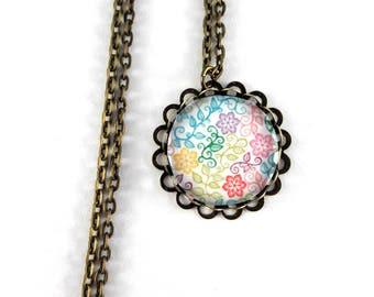 Long necklace retro pattern colorful flowers