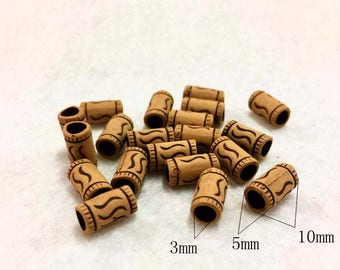 Imitation bone beads/tubes_5x10mm_3mm hole_color brown_pack 48 beads