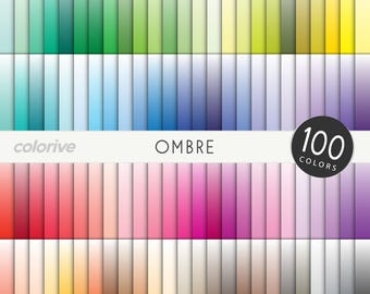 Ombre digital paper 100 rainbow colors white to color gradient solid ombre brights pastels neutrals printable scrapbooking paper