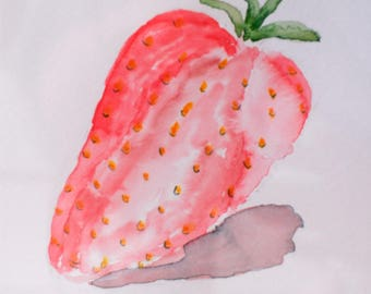 """Strawberry1 - Watercolor Painting 6x6"""" Canson paper"""